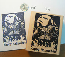 "P19 Halloween Witches cooking rubber stamp 3.3x2"" WM"