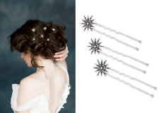 WHH42 White Chapel Bridal Star Hair Stick Headpiece Silver Fork Hairdo 3 Pin Set