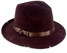 Brown Tattered Freddy Adult Fedora Hat Flocked Eva Foam Horror Costume Party