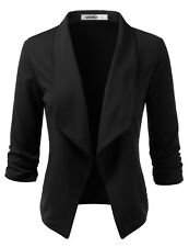 Womens Casual Work Ruched 3/4 Sleeve Open Front Blazer Jacket with Plus Size