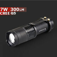 Mini Q5 7W 300LM LED Flashlight Torch Adjustable Focus Zoom Light Lamp UK
