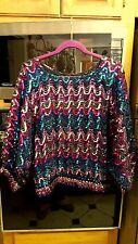 FAB MULTI COLOR SEQUIN Pattern On Sheer Black Hem DOLMAN Sleeves Large or XL!