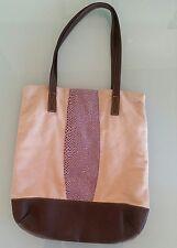 borsa shopper tela color corda con inserto in eco lucertola lilla