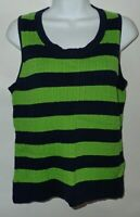 Talbots Green Navy Blue Striped Cable Knit Sleeveless Sweater Vest LP Petite L