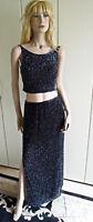 Abendkleid  Gr. 38 Gr. 40 schwarz edel LUXUS PUR Seide Perlen ohne Ende sexy RAR