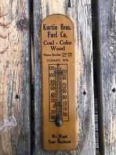 Vintage 1940s/1950s Kurtin Bros Fuel Co Coal Coke Wood Thermometer Cudahy