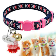 Embroideried Breakaway Cat Collar Quick Release & Personalized ID Tags Engraved