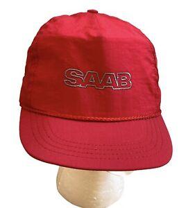 Vintage NEW SAAB Hat Baseball Cap Nylon String Leather Adjustable Strap Back Red