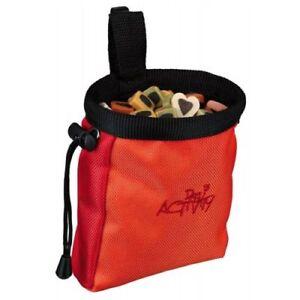 Trixie Snack Bag Drawstring Close Treat Belt Attach Orange Dog Pet Walkies  New