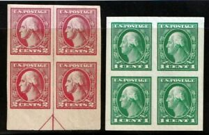 1916 US Scott #481 & 482 One & Two Cent Washington Imperf Block of 4 Stamps Mint