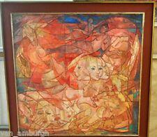 GENUINE 1956 Carles Madirolas Large Oil On Canvas Female Nudes Art Deco