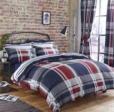 A CARREAUX rayé bleu rouge gris 144 TC Mélange de coton super king HOUSSE