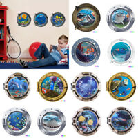 3D Porthole Ocean Animals Removable Wall Sticker Decals Vinyl Mural Room  hv2n