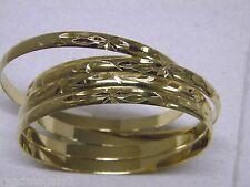 Lady's Women's Bangle Bracelet Set 4 Pieces Semanario Yellow  Gold Plated Aros