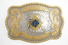 Masonic Mason Freemasons Large Gold & Silver Western Pattern Metal Belt Buckle