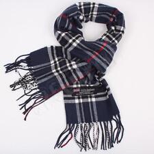 Men Women unisex 100%CASHMERE Navy Blue Scarf tartan stripe Plaid SCOTLAND