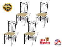4 Pcs Brown Dining Furniture Chairs Kitchen Stool with Black Steel Backpack