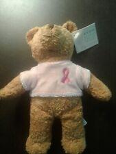2001 Avon Breast Cancer Crusade Plush Bear Beanie Brown Pink Shirt Ribbon rare