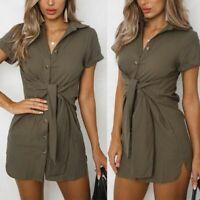 Womens shirt dress casual party short dress short sleeve cocktail beach evening