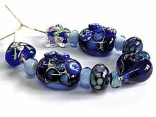 "UNIQUE HANDMADE LAMPWORK GLASS  BEADS, ""BLUE MIX """
