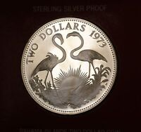 1973 Bahamas $2 Sterling Silver Proof Flamingo Coin in Original Box with COA