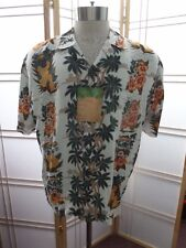 Men's Hawaiian Casual camp sz M Pineapple Connection white green palm, pineapple