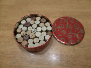 30+ Used Wine Corks- Recycled / Used / Upcycled- Great Crafting Condition in tin