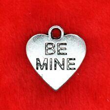 6 x Tibetan Silver 'BE MINE' Love Heart Charm Pendant Jewelry Making Craft