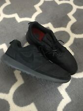 Nike Woven Roshe Run all Black Suede Flyknit Men Sport Shoes Sz 14