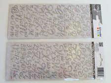 STICKERS Autocollants Alphabet 177 lettres Argenté pailleté DIY Scrap Artemio