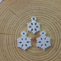 100pcs Bright Silver Snowflake Shaped Alloy Pendants Charms Craft Findings 51772
