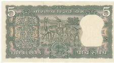 OLD S.JAGANNATHAN OR P.C.BHATTACHARYA SIGN. 5/- 4 DEERS BANK NOTE IN UNC RARE.