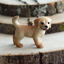 HandPainted Porcelain Golden Retriever Dog Necklace Antique Bronze Chain Ceramic