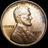 1919-S Lincoln Cent Wheat Penny  ---- GEM BU++ Condition ---- #D478