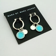 Marc by Marc Jacobs Silver Small Round Hoop Earrings w/Blue Enamel Logo Charms