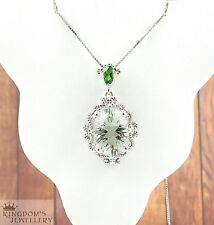 925 Sterling Silver Green Amethyst and Chrome Diopside Gemstone Pendant