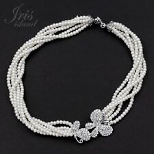Glass White Pearl Clear Crystal 6 Rows Beaded Strand/String Necklace 0 Butterfly