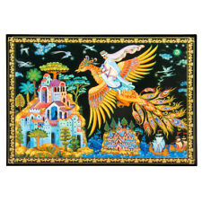 """6x9"""" Lacquer Trinket Box with Russian Palekh Style Firebird Fairytale Pattern"""