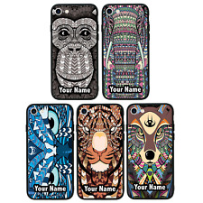Personalised Aztec Animals Name Glass Case Back Cover iPhone 7 8 PLUS XS MAX XR