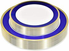 Stock Your Home 50 Disposable Plastic Plates Blue And Gold