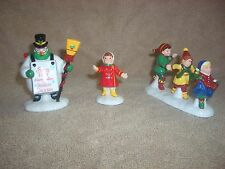 "Dept. 56 Snow Village ""He Led Them Down The Streets Of Town"" 3 pieces Snowman EX"