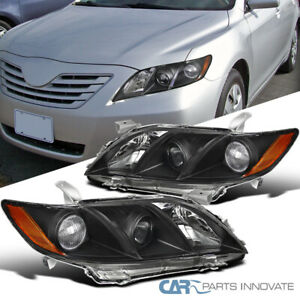 For 07-09 Toyota Camry CE LE SE Black Projector Headlights+Amber Signal Lamps