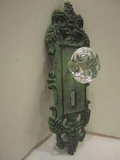 Cast Iron decorative door knob acrylic glass knob pull green antique finish