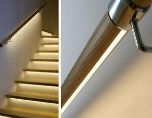 LED Handrail Kit Lighting Pine Mopstick Rail Banister Chrome end caps brackets