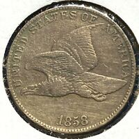 1858 1C Flying Eagle Cent, Large Letters (56797)