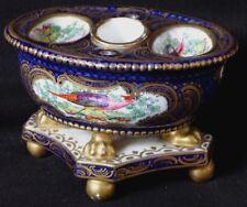 Ravissant encrier en porcelaine décor peint oiseaux Old porcelain inkwell XIX