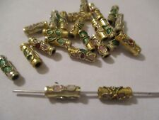 100 Gold on  Gold Trimmed Cloisonne Metal Beads 9 X 3 mm  A+ Quality ~ AD20
