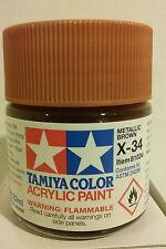 Tamiya acrylic paint.  X-34 Metallic brown . 23ml