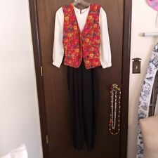 Vintage Retro Classic Black and White Business Jumper With Red Coin Vest, Sz 10