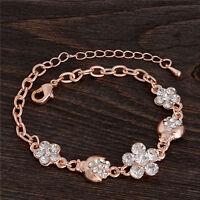 Fashion Chic Yellow Gold Flower Crystal Rhinestone Beads Crystal Bracelet Chain